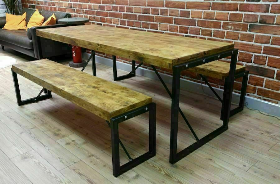 Industrial Style Dining Table And Bench Set Table And Bench Set