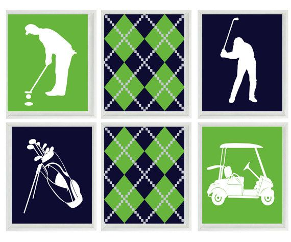 Golf Wall Art Print - Navy Blue Green White Argyle Preppy Art - Golf Clubs  Cart