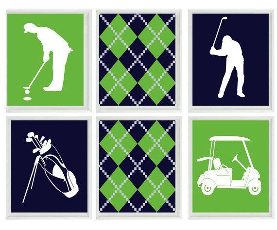 Golf Wall Art Print - Navy Blue Green White Argyle Preppy Art - Golf Clubs  Cart