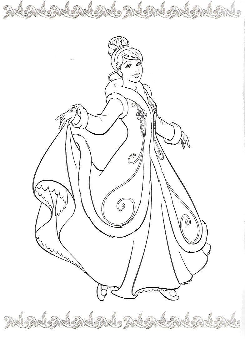 Cinderella In Winter Coat Disney Coloring Pages Cinderella Coloring Pages Coloring Books