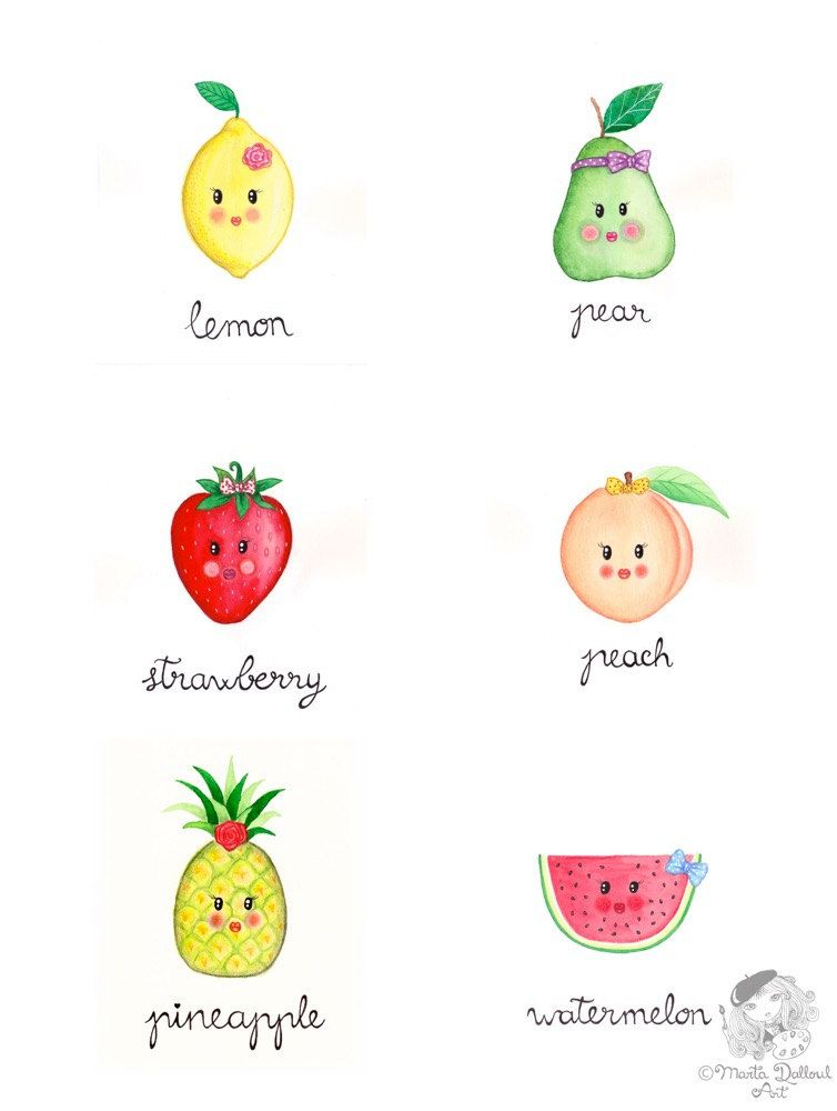 Pineapple fruit art original watercolor painting cute - Ananas dessin ...