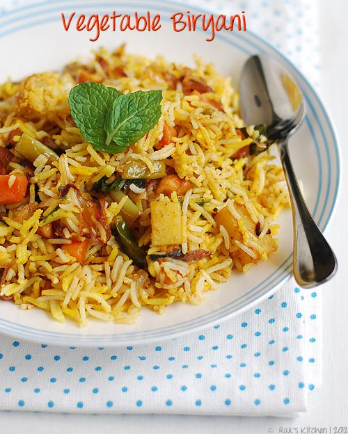Vegetable Biryani Recipe Indian Layered Vegetable Biryani Raks Kitchen Recipe Vegetable Biryani Recipe Biryani Recipe Biryani