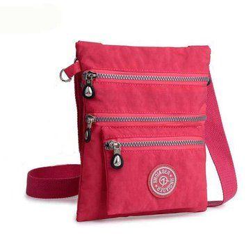 6ceec1a9b015 Jinqiaoer Women Casual Nylon Waterproof Multi-Pocket Messenger Zipper Crossbody  Bag Shoulder Bag