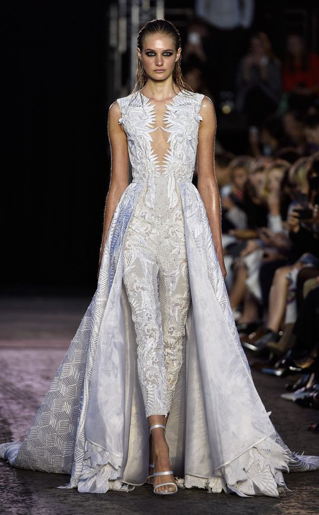 ae63522c7066 Julien Macdonald S S 16  I love this white embroidered pantsuit with a gown train.  Unique and exquisite!