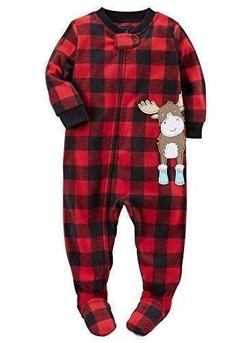 545ab57a7 Carter s Boys 1 Pc Fleece Size 3T Pajamas PJ s Red Plaid Moose ...