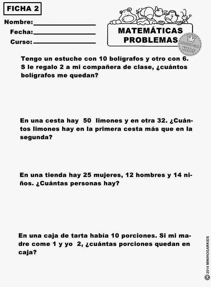 AQUÍ TIENES 6 FICHAS  de matemáticas con diferentes tipos de problemas muy fáciles, para que demuestres tu pericia mental...