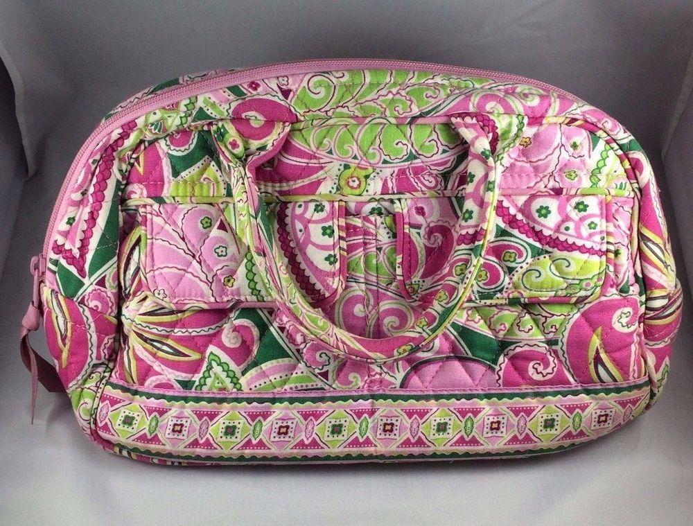 Vera Bradley Pinwheel Pink Green Small Lola Bowler Bag Purse