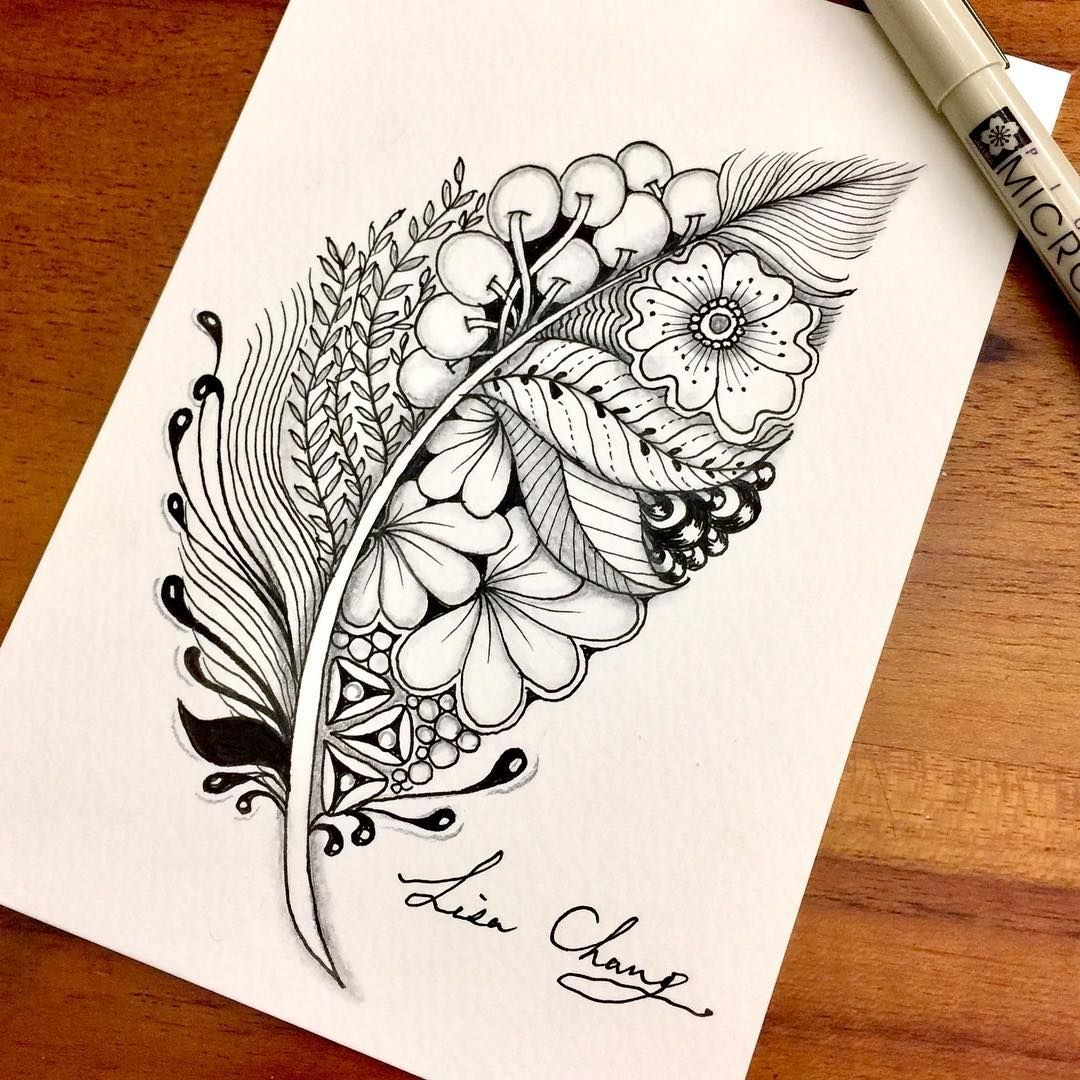 Hand Drawn Zentangle Doodle Drawings Feather drawing