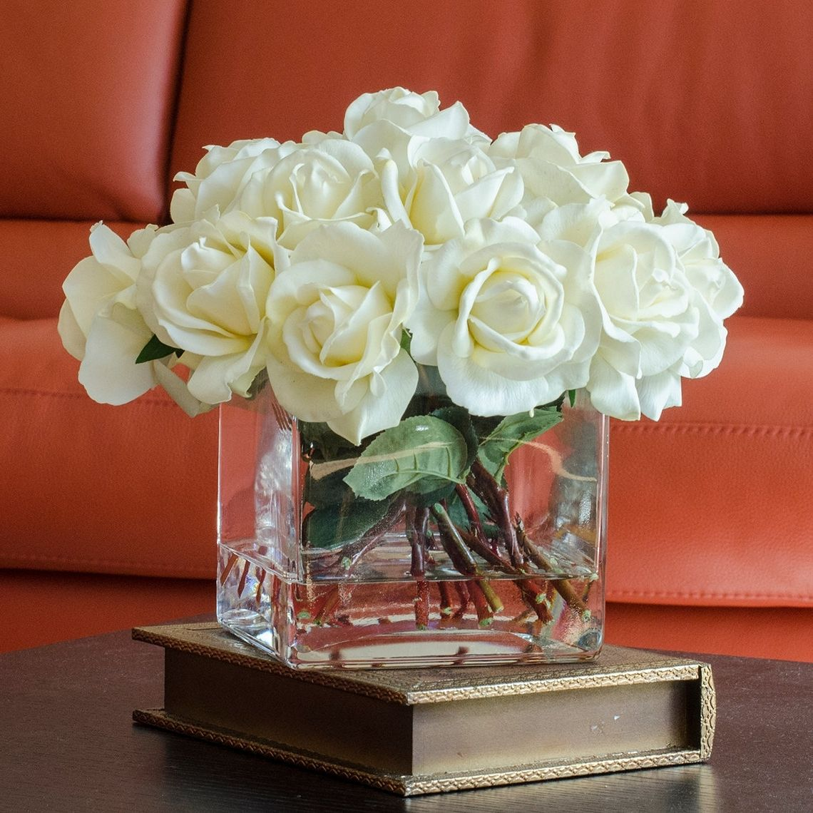 Artificial flowers in vase with fake water uk vase pinterest white flowers in square vase class reviewsmspy