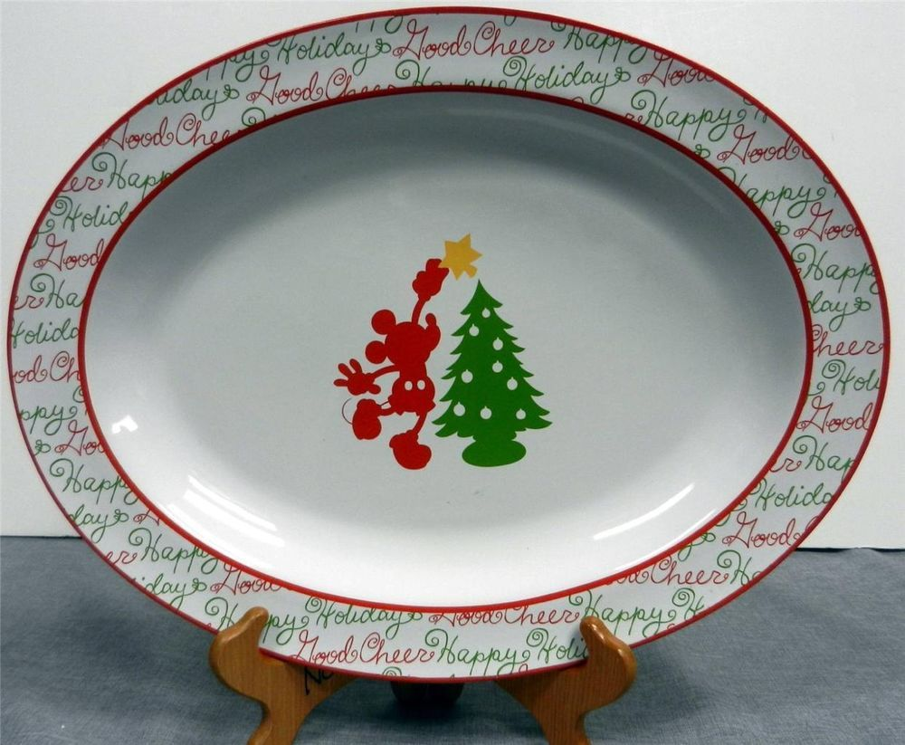 Christmas Platter Plates.Disney Mickey Mouse Christmas Holiday Oval Serving Platter