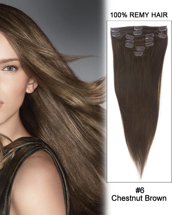 24 7pcs Straight Remy Hair Clip In Hair Extensions 6 Chestnut