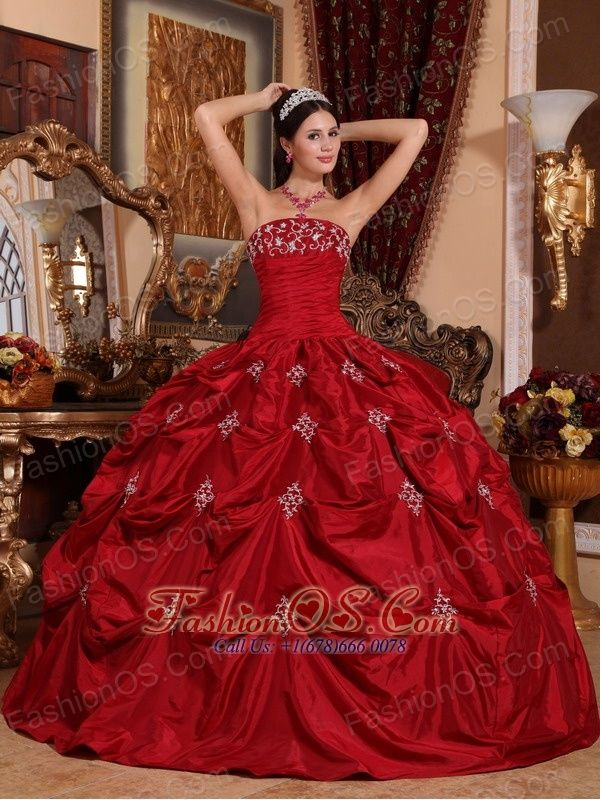 4aecaf3b0e1 Wine Red Strapless Appliques Taffeta Sweet 15 Dresses with Beading and  Pick-ups. Sweet Sixteen Dresses