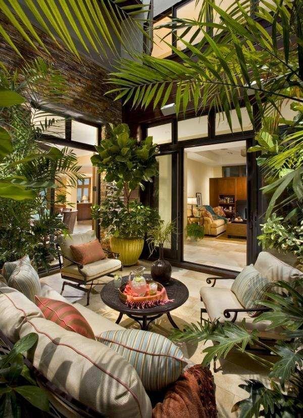 Wintergarten Pflanzen Palmen Sichtschutz Schiebetueren Haus Raum Im Freien Terassenentwurf Hintergarten