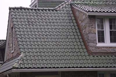 Roofing materials two family rehab pinterest asphalt for Metal roof that looks like spanish tile