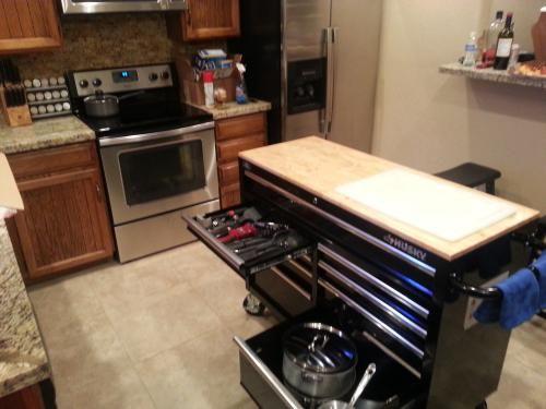 Husky 46 in. 9-Drawer Mobile Workbench with Solid Wood Top ... on petco husky, hallmark husky, home heating oi husky,