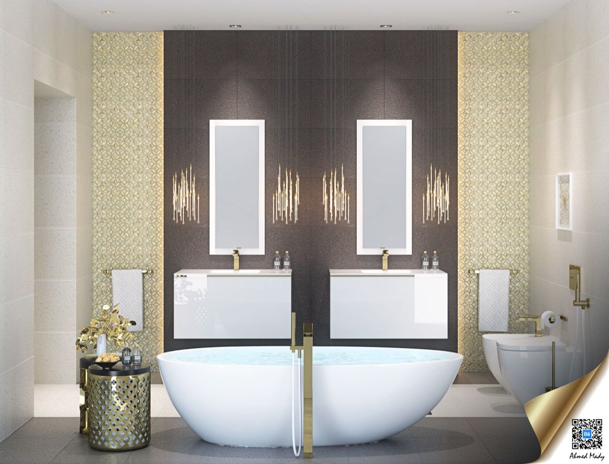 This bathroom is all glam with gold elements in the wall, side ...