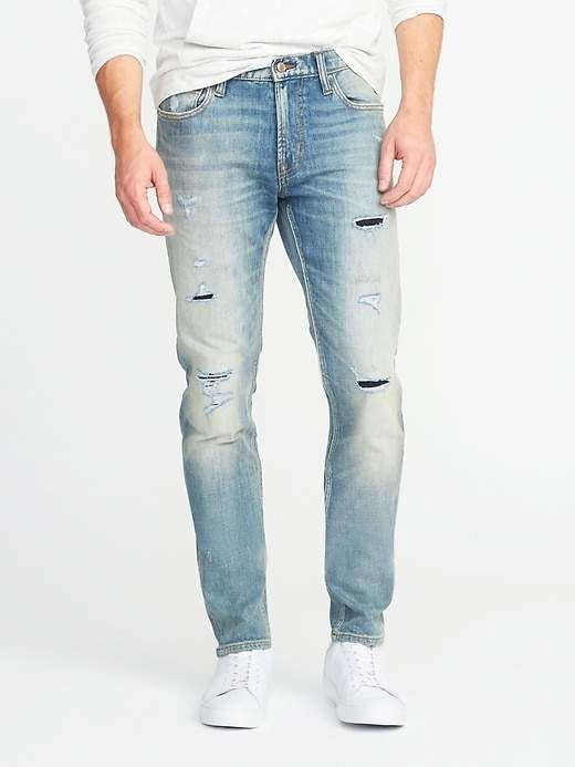 c623ac37acd Old Navy Relaxed Slim Built-In Flex Distressed Jeans for Men  MensJeans