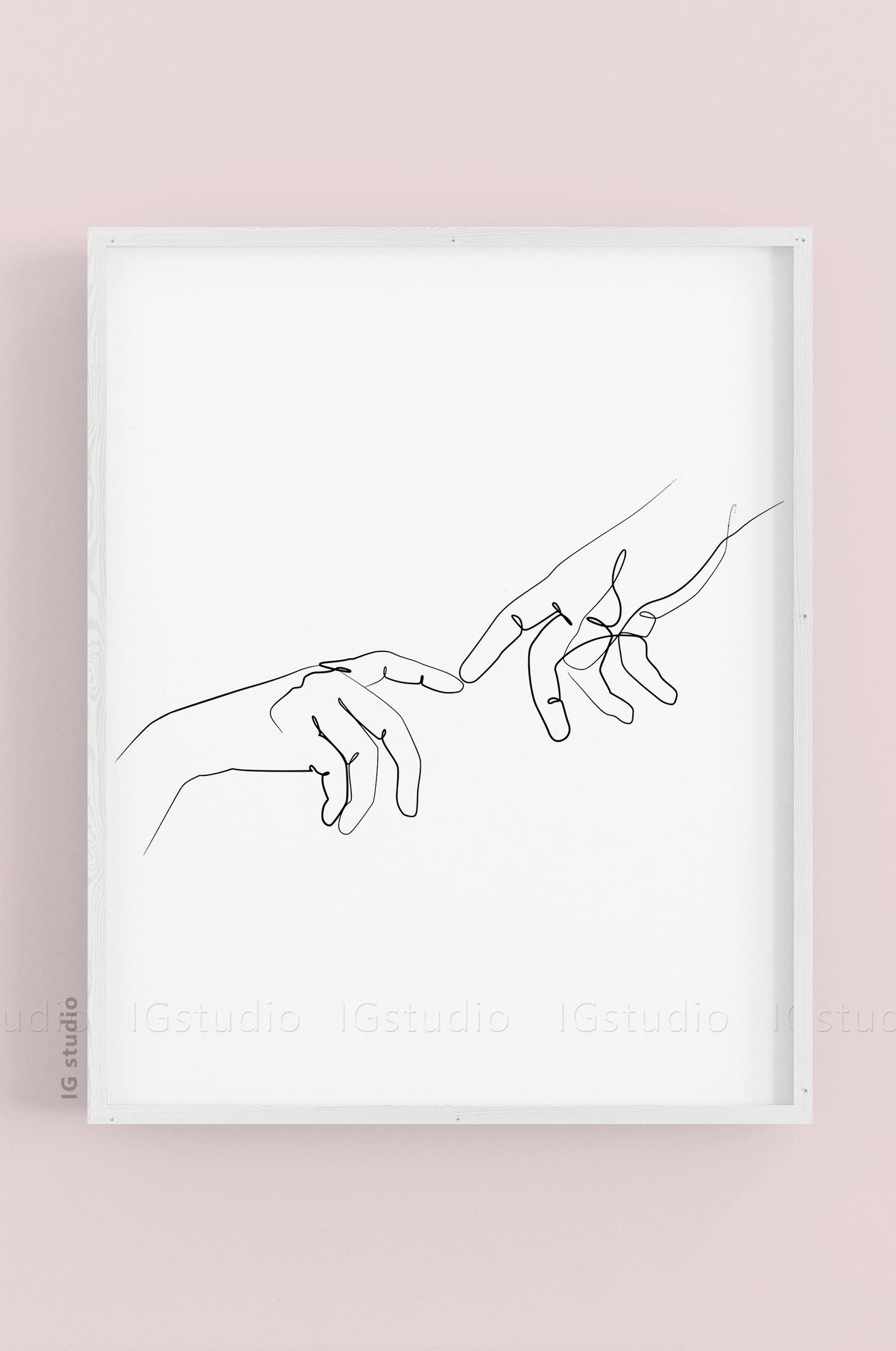 Two Hands Print Bedroom PrintLine Art Couples PrintHands Line Art Scandi