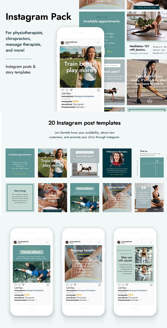 Healthcare Instagram Pack Psd In 2020 Health Care Instagram Massage Therapist