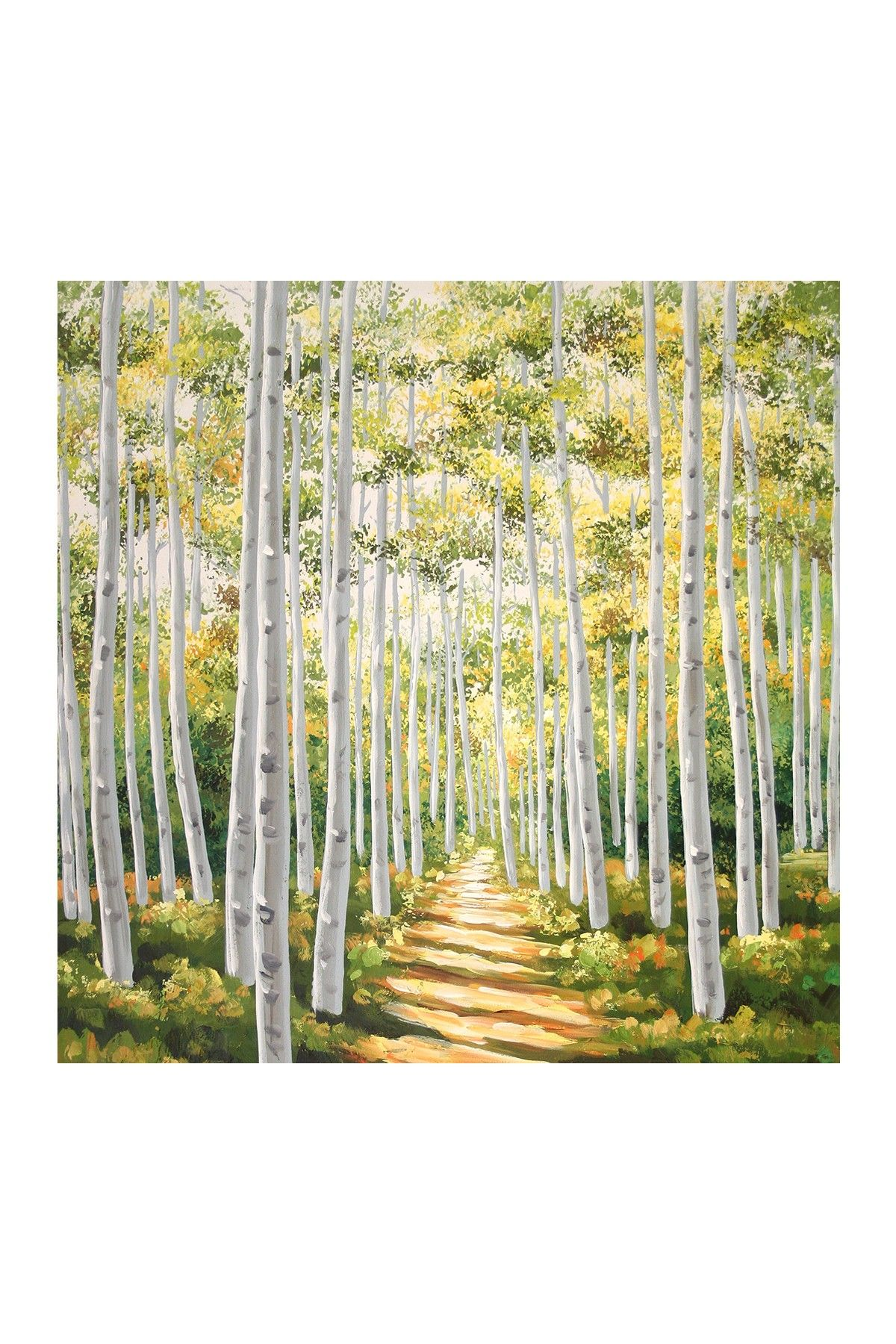 Birch II Hand Embellished Gallery Wrapped Canvas Wall Art - 35\
