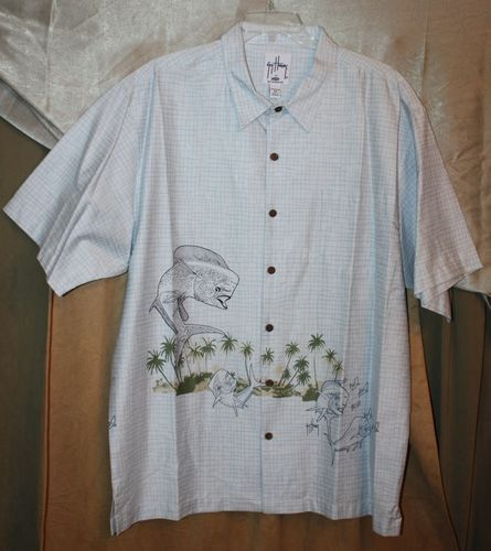 Mens Size 2XL Guy #Harvey Signature 100% Cotton Bahama Shirt Leaping Dorado New | #eBay