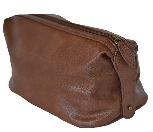 Men s Premium Faux Leather Toiletry Bag - Portable Shaving Kit (Dopp Kit)  For Travel f00949acdf78f