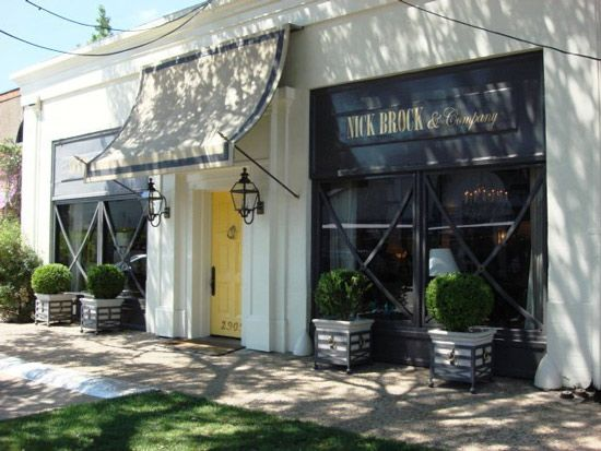 Love the awning idea from Nick Brock Antiques in Dallas