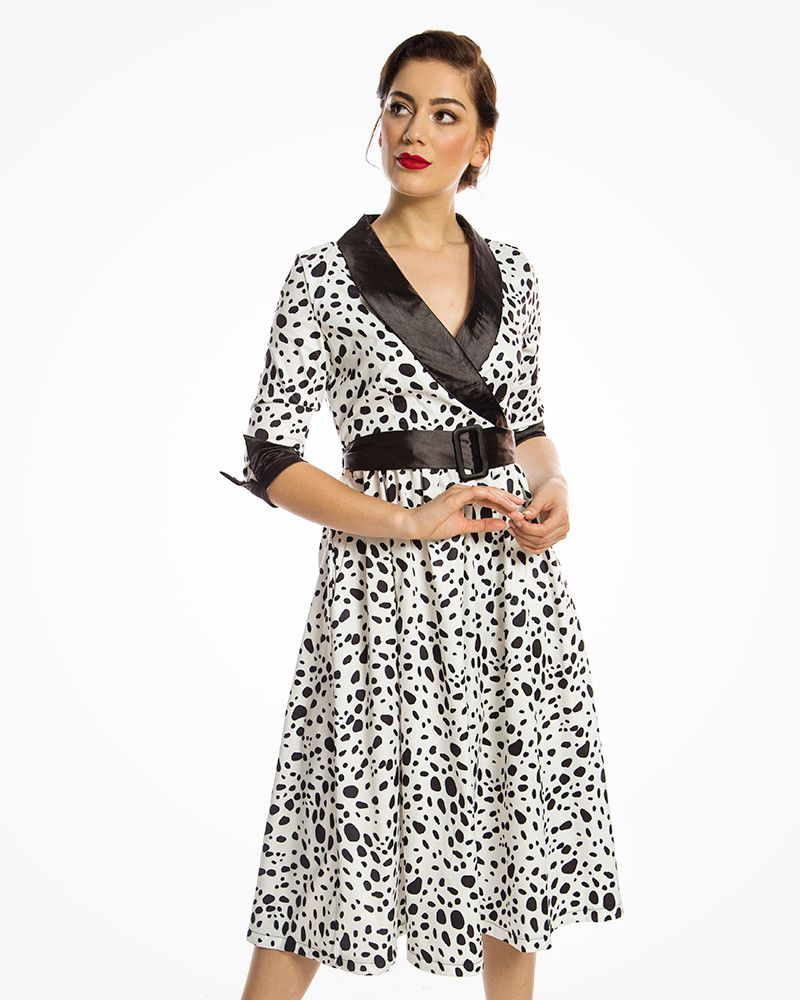 ba912501c9 Marisole  1940s Inspired Collared Swing Dress in Dalmation Print ...