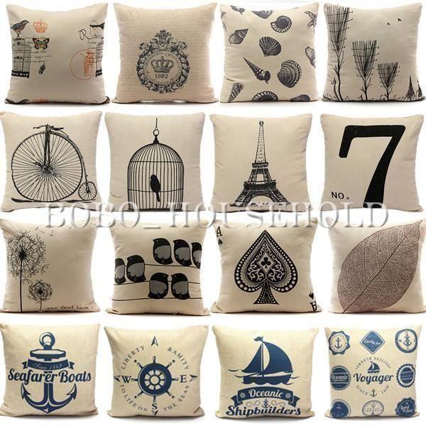 Vintage Nautical Cotton Linen Cushion Cover Throw Pillow Cases