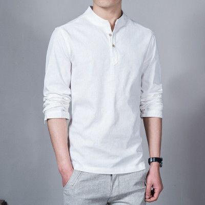 Spring Summer Casual Men Linen Shirt Long Sleeve Solid V Neck ...