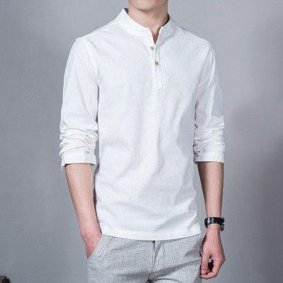Spring Summer Casual Men Linen Shirt Long Sleeve Solid V Neck ...