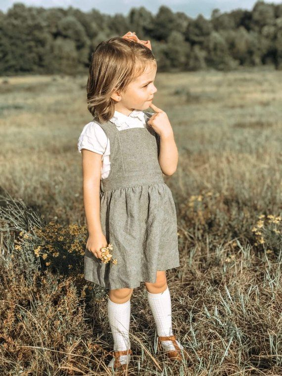 Pinafore Dress, Linen Pinafore Dress, Linen Girl Dress, Linen Pinafore, Girls Dress, Gray Neutral Li #babygirlpartydresses