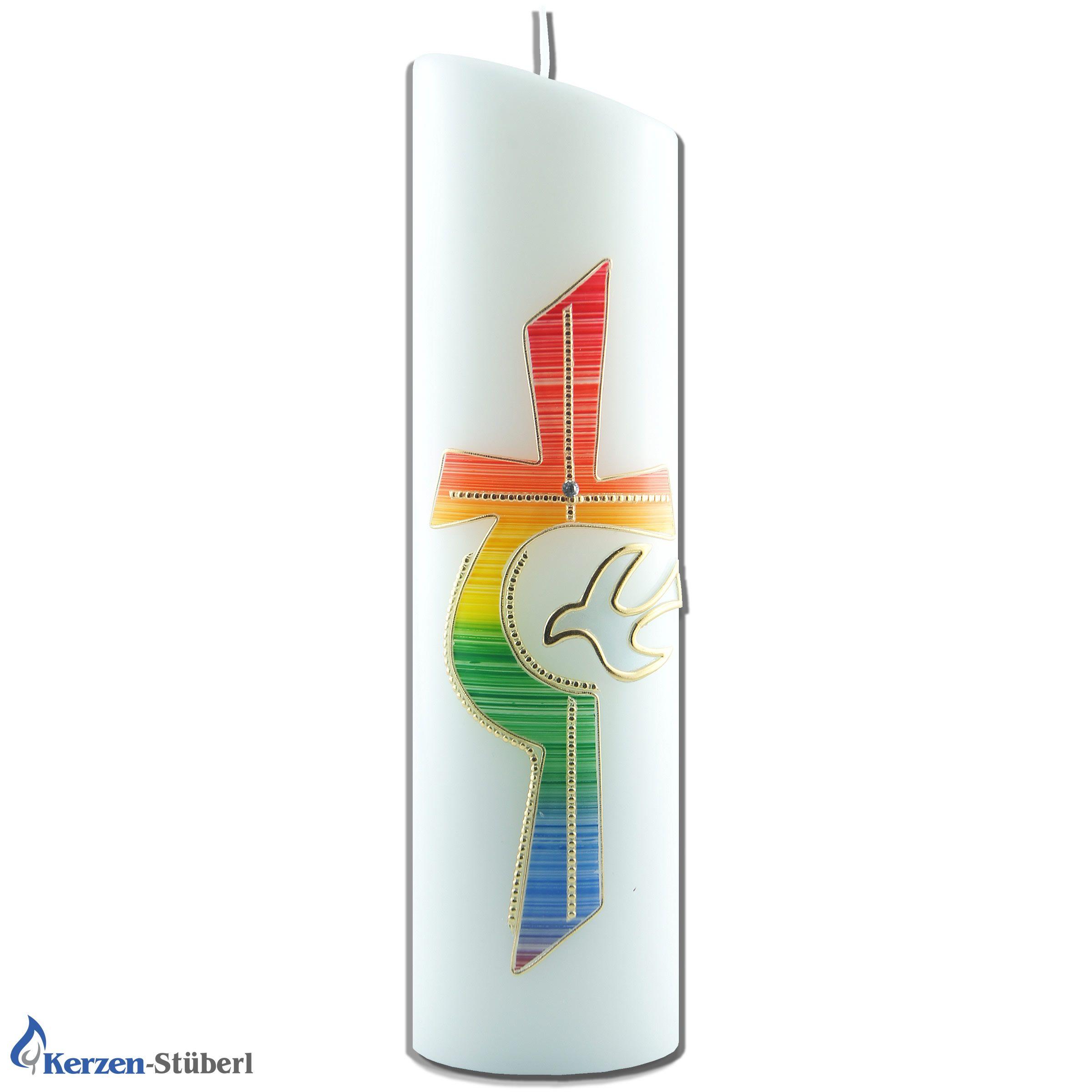 Wachsornamente Regenbogen Kreuz Verzierwachs Kommunion,Taufe-Gold Kerzenkunst