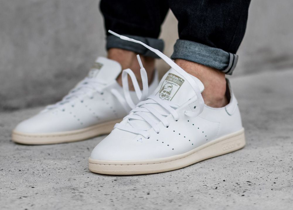 promo code 403e3 566b7 acheter basket Adidas Stan Smith Leather Sock Vintage White (1)