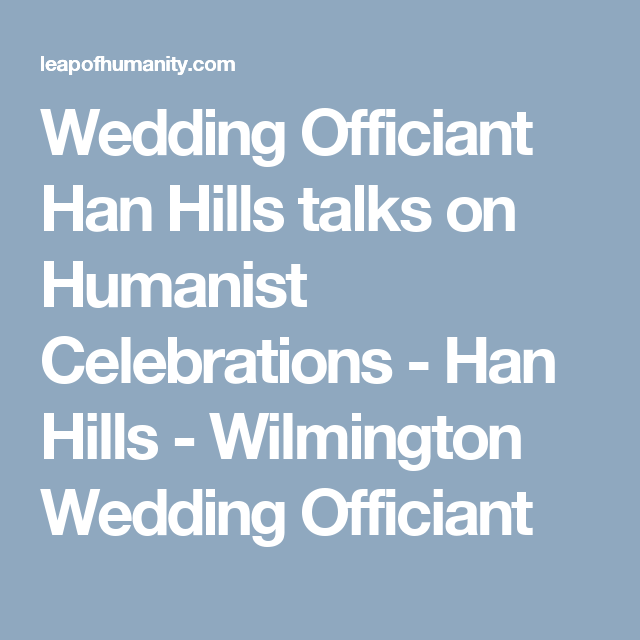 Celebrity Humanist Wedding: Wedding Officiant Han Hills Gives Talk On Humanist