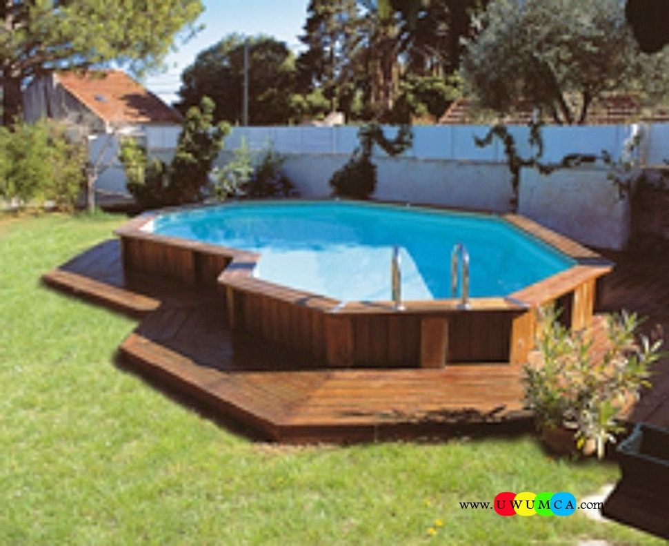Swimming pool architecture captivating brown wooden above ground pool and deck design in the - Swimming pool decks above ground designs ...