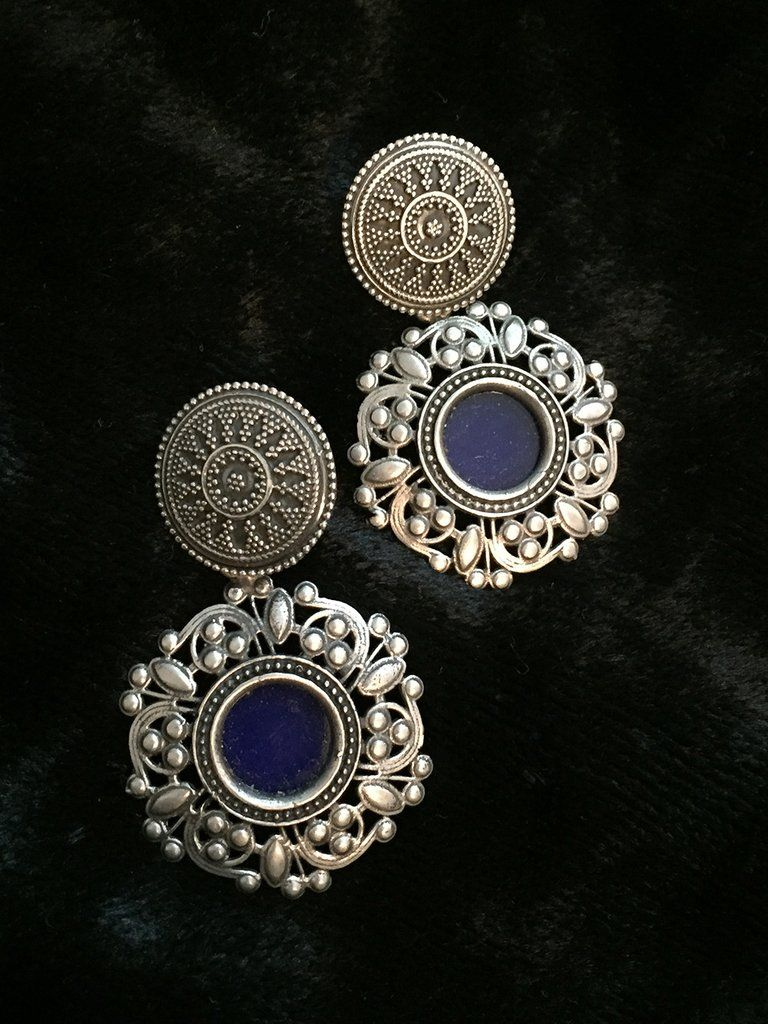 Blue Gl Fl Silver Earrings