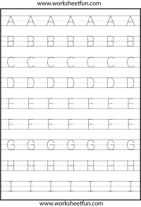 Tracing Uppercase Letters Capital Letters 3 Worksheets