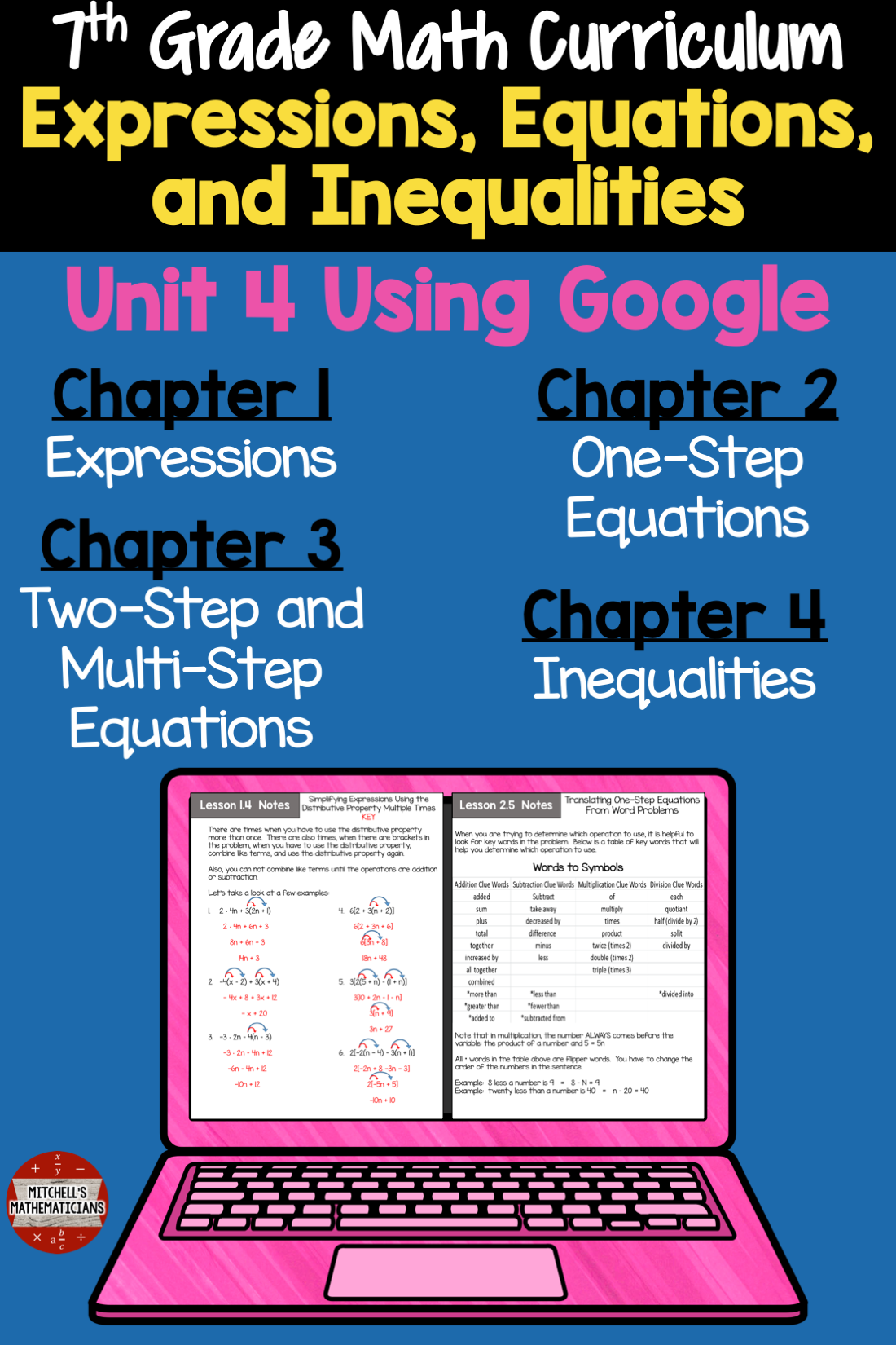 7th Grade Expressions Equations And Inequalities Math Unit