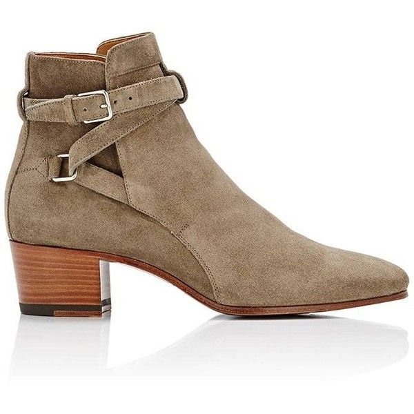 Saint Laurent Women's Blake Ankle Boots (6,545 GTQ) ❤ liked on Polyvore featuring shoes, boots, over-the-knee boots, taupe ankle boots, thigh high boots, mid heel ankle boots, taupe boots and above-knee boots