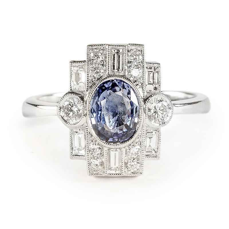 Beverley K Art Deco Sapphire and Diamond Ring | Greenwich Jewelers