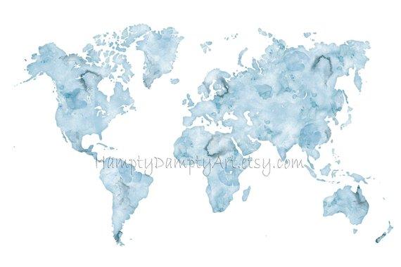 Large World Map Print 24x36 World Map Wall Art Watercolor World