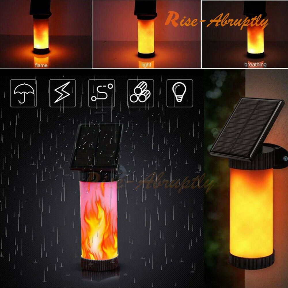 1//2Pcs LED Solar Flame Lights Garden Flickering Dancing Outdoor Fence Wall Lamp