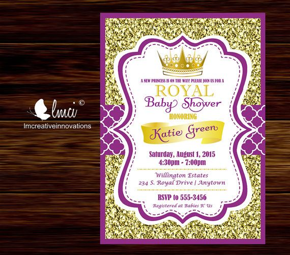 purple and gold royal baby shower invitation little princess baby