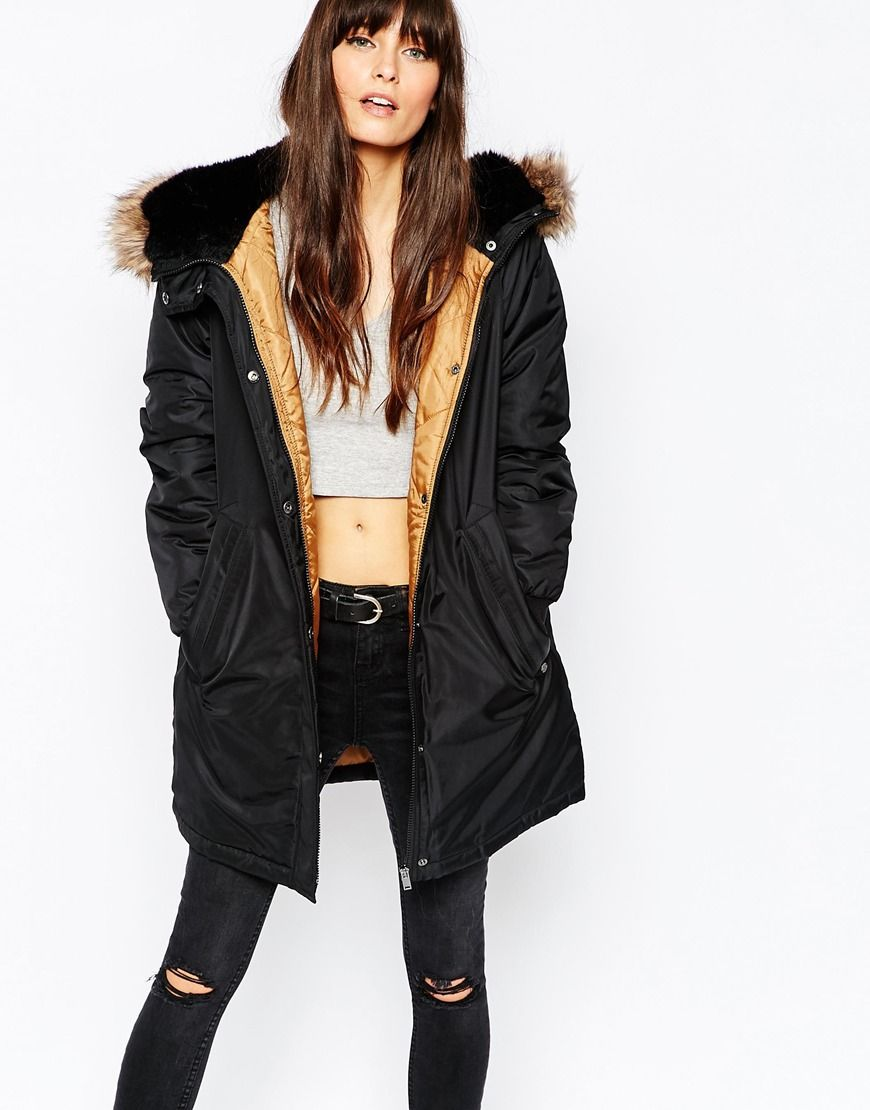 Vero Moda Premium Faux Fur Hooded Parka | Style | Pinterest | Fur ...