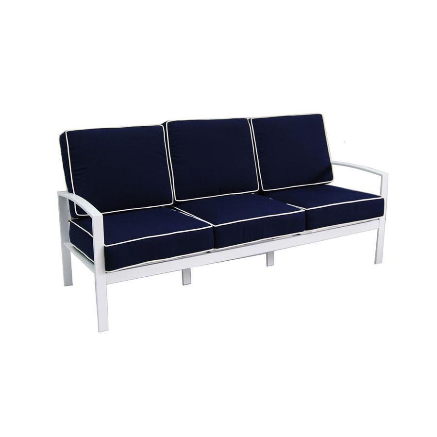 Allen + Roth Ocean Park Solid CushioN White Aluminum Sofa