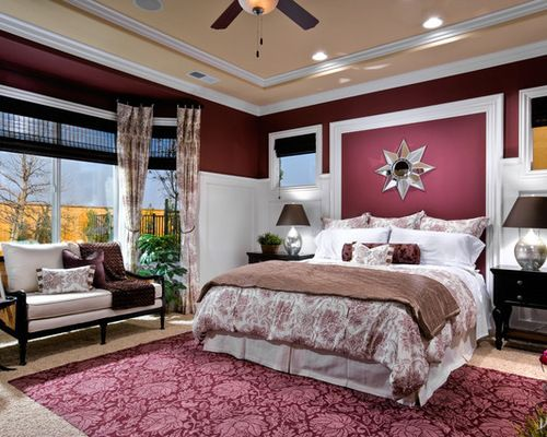 Traditional Bedroom Ideas With Color traditional bedroom burgundy themed wall paint color decoration