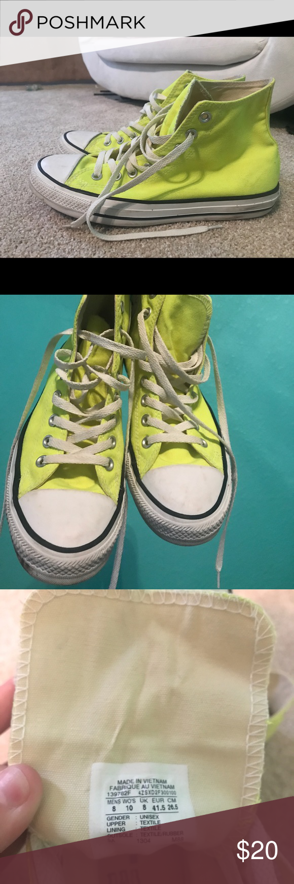 8b1f8d3553b7 Unisex Converse Chuck Taylor All Star Hi Sneakers Neon Yellow Laces are a  little dingy