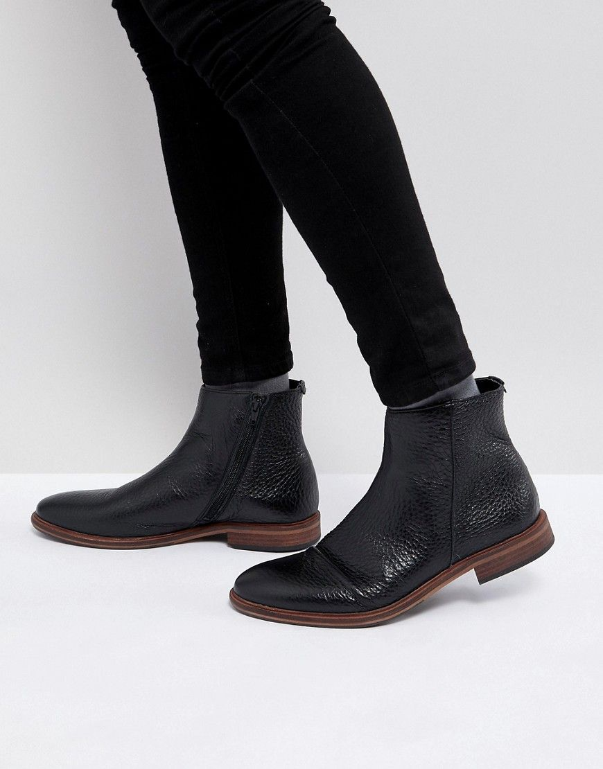 265f0ff582e6 ASOS Chelsea Boots In Black Leather With Texture And Zip Detail - Blac