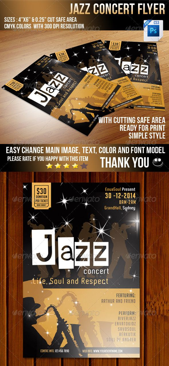jazz concert flyer v2 by savocation jazz concert flyer designed for jazz band concert invitation size 46 resolution 300dpi color mode cmyk easy